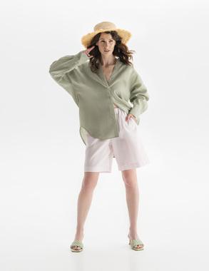 Блуза полинь льон (зелена)