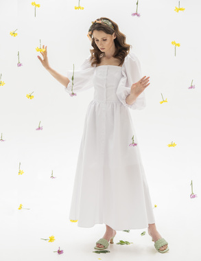 Сукня-буфи біла 100% бавовна