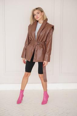 Куртка з еко-шкіри шоколад