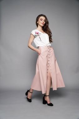 Юбка трапеция розовая