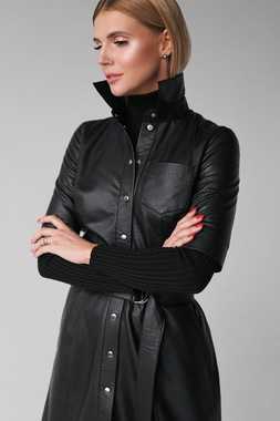 Сукня з екошкіри чорна