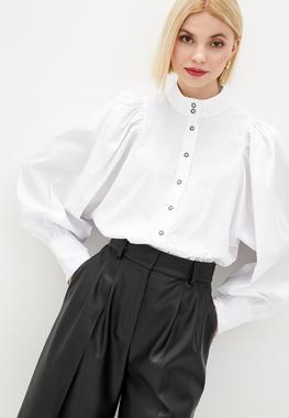 Блуза буфы белая