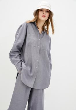 Блуза туман льон (синя)