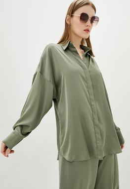 Блуза оливкова oversize шовк