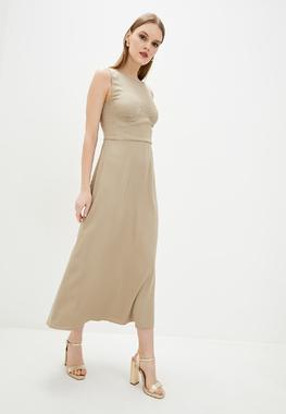Сукня з бюстьє беж атлас матовий