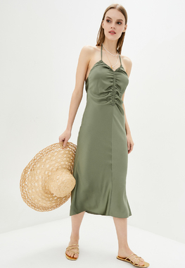 Сукня шовкова зелена на кулісці